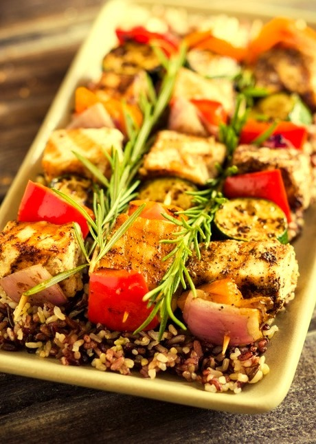 Grilled Swordfish Kabobs with Vegetables
