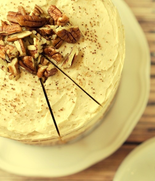 Pumpkin Layer Cake with Pecan and Cream Cheese Cinnamon Frosting