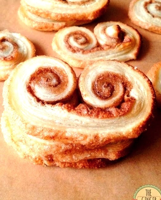 Puff Pastry Cinnamon Sugar PalmiersFind the recipe here:https://theginger-snap.blogspot.co.uk/2013/11/puff-pastry-cinnamon-sugar-palmiers.html