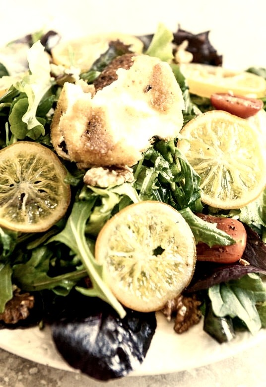 Spring Greens with Candied Meyer Lemons and Spicy Fried Goat Cheese
