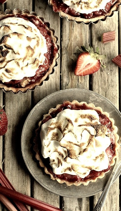 Strawberry Rhubarb Meringue Tartlets Completely Delicious