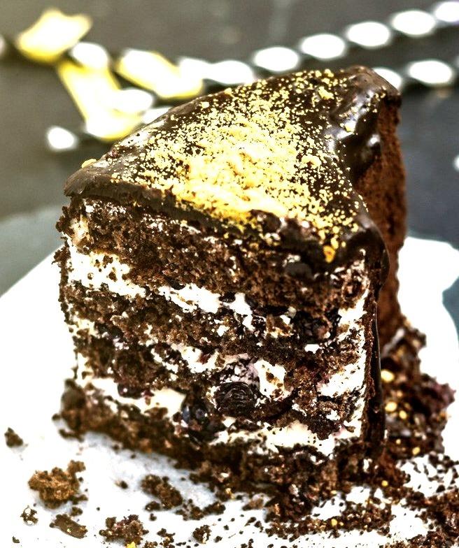Glazed Chocolate Blueberry Cake with Cookie Crumb Crust