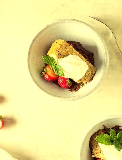 Hazelnut Cake with Fresh Mint Chocolate Pudding And A Creme Fraiche Whipped Cream Flourishing Foodie