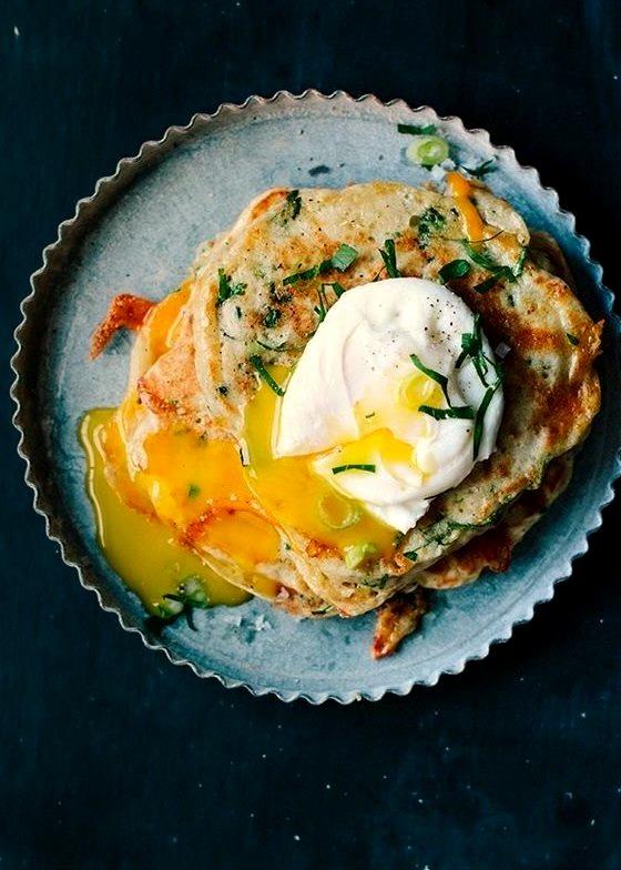 Savory Vegetable Pancakes with Poached Eggs (Via Edible San Fransisco)