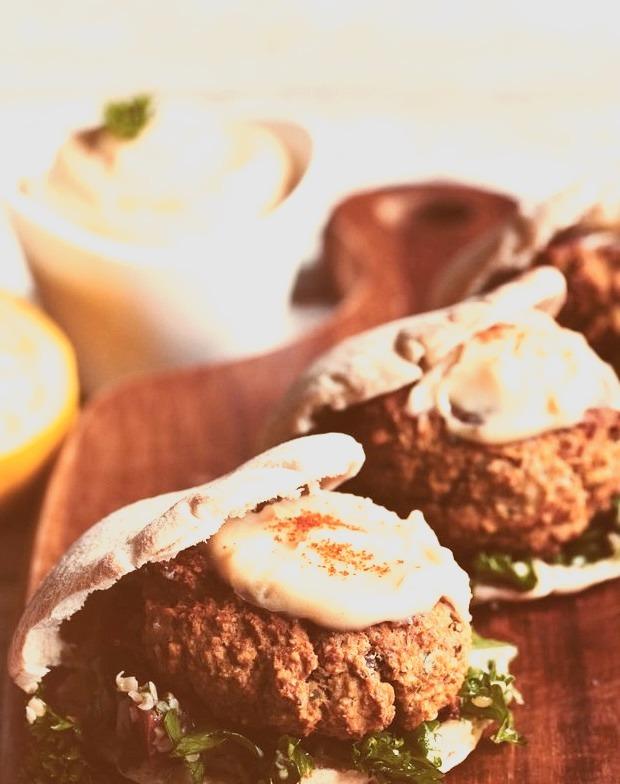 Baked Falafel Sliders with Hemp Tabbouleh & Maple Tahini Sauce Hot for Food
